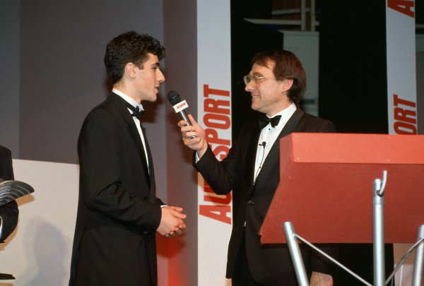 1992 Autosport Awards. Grosvenor House Hotel, Park Lane, London. 6th December 1992. Dario Franchitti wins the Autosport Young Driver of the Year award and is interviewed on stage by Simon Taylor, portrait.  World Copyright: LAT Photographic. Ref:  Colour Transparency.