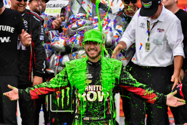 Monster Energy NASCAR Cup Series Tales of the Turtles 400 Chicagoland Speedway, Joliet, IL USA Sunday 17 September 2017 Martin Truex Jr, Furniture Row Racing, Furniture Row/Denver Mattress Toyota Camry celebrates in victory lane and gets slimed  World Copyright: Logan Whitton LAT Images