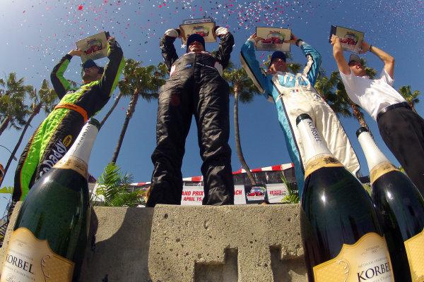 13-15 April, 2012, Long Beach, California, USAJames Hinchcliffe, Will Power, Simon Pagenaud and Tim Cindric on the victory podium(c)2012, Lesley Ann MillerLAT Photo USA