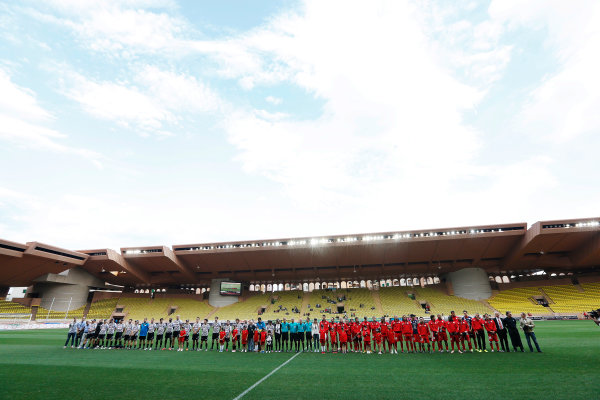 Monte Carlo, Monaco. Tuesday 19 May 2015. The teams lineup before the 22nd World Stars football match. World Copyright: Charles Coates/LAT Photographic. ref: Digital Image _J5R5531