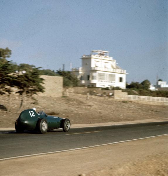 1958 Moroccan Grand Prix.Ain-Diab, Casablanca, Morocco.17-19 October 1958.Stuart Lewis-Evans (Vanwall VW4) before his fatal accident.Ref-3/0135.World Copyright - LAT Photographic