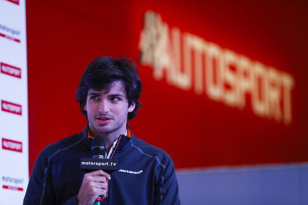 Carlos Sainz Jr talks to Stuart Codling on the Autosport Stage.