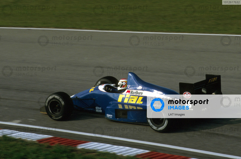 Jacarepagua, Rio de Janeiro, Brazil.24-26 March 1989. Volker Weidler (Rial ARC2 Ford). He exited the race with gearbox problems.Ref-89 BRA 01.World Copyright - LAT Photographic