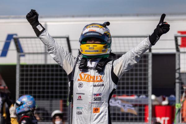 GT500 Winner Naoki Yamamoto, Stanley Team Kunimitsu, Honda NSX-GT GT500, celebrates in parc ferme