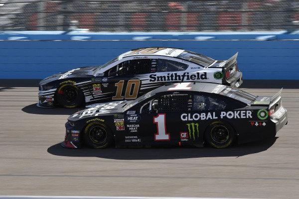 #1: Kurt Busch, Chip Ganassi Racing, Chevrolet Camaro Global Poker and #10: Aric Almirola, Stewart-Haas Racing, Ford Mustang Smithfield