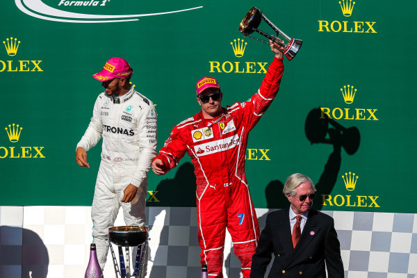 Kimi Raikkonen (FIN) Ferrari celebrates on the podium with the trophy at Formula One World Championship, Rd17, United States Grand Prix, Race, Circuit of the Americas, Austin, Texas, USA, Sunday 22 October 2017.