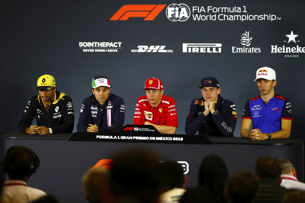 Carlos Sainz Jr, Renault Sport F1 Team, Sergio Perez, Force India, Kimi Raikkonen, Ferrari, Max Verstappen, Red Bull Racing, and Pierre Gasly, Toro Rosso, in the Thursday press conference.