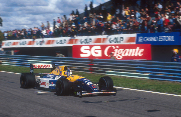 1992 Portuguese Grand Prix.Estoril, Portugal.25-27 September 1992.Nigel Mansell (Williams FW14B Renault) celebrates 1st position.Ref-92 POR 03.World Copyright - LAT Photographic
