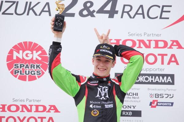 Winner Sacha Fenestraz, B-Max Racing with Motopark F3, Dallara F314 Spies A41, celebrates on the podium. Photo by Masahide Kamio