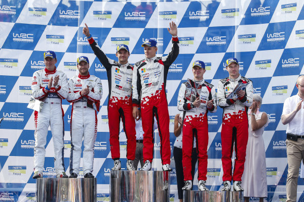The podium ceremony for Rally Finland