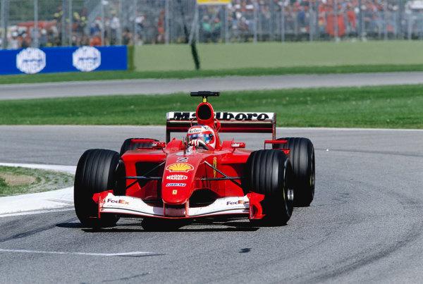 2001 San Marino Grand Prix.Imola, Italy. 13-15 April 2001.Rubens Barrichello (Ferrari F2001) 3rd position.Ref-01 SM 28.World Copyright - Lorenzo Bellanca/LAT Photographic
