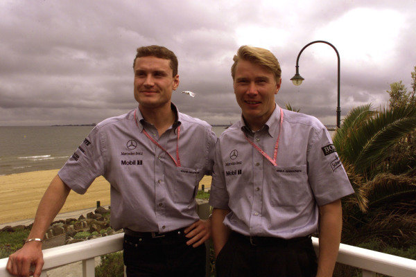 1999 Australian Grand Prix.Albert Park, Melbourne, Australia. 5-7 March 1999.McLaren Mercedes-Benz drivers David Coulthard (left) and Mika Hakkinen before the Grand Prix.World Copyright - Winter/LAT Photographic