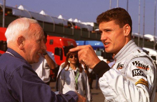 1998 San Marino Grand Prix.Imola, Italy.24-26 April 1998.John Surtees with David Coulthard (McLaren Mercedes-Benz).World Copyright - Elford/LAT Photographic