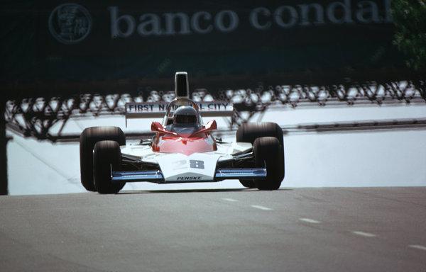 1975 Spanish Grand Prix.Monjuich Park, Spain.25-27 April 1975.Mark Donohue (Penske PC1 Ford).World Copyright - LAT Photographic