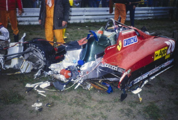 The remains of Didier Pironi's Ferrari 126C2 after his career-ending accident.