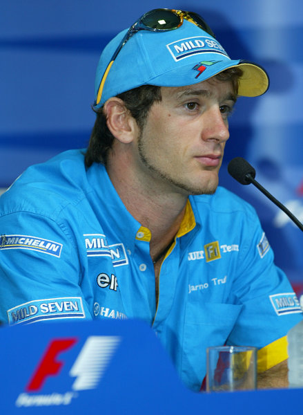 2003 Malaysian Grand Prix. Sepang, Kuala Lumpur, Malaysia.20-23 March 2003.Jarno Trulli (Renault) in the Thursday press conference.World Copyright - LAT Photographic ref: Digital Image Only