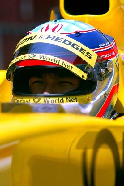 Takuma Sato (JPN) Jordan Honda Formula One Testing, Barcelona, Spain, 25 June 2002.
