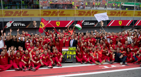 Race winner Charles Leclerc, Ferrari poses for a photograph with his Ferrari team and Louis C. Camilleri CEO of Ferrari.
