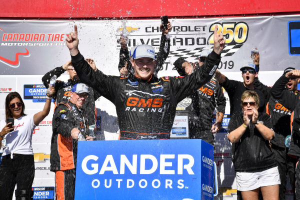 #24: Brett Moffitt, GMS Racing, Chevrolet Silverado celebrates after winning