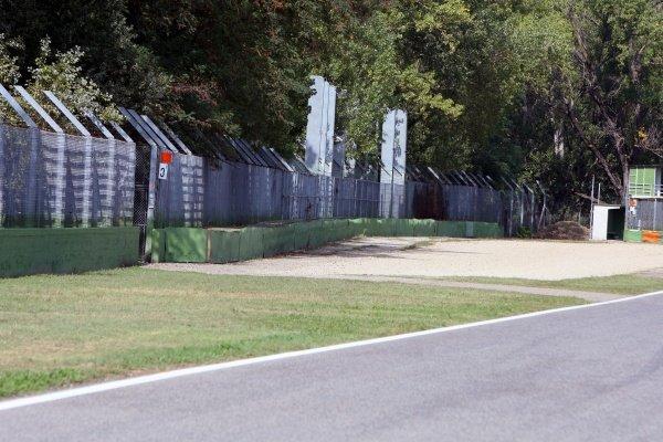 The Tamburello wall where Ayrton Senna (BRA) crashed fatally.Imola Track Walk, Imola, San Marino, Thursday 17 September 2009.
