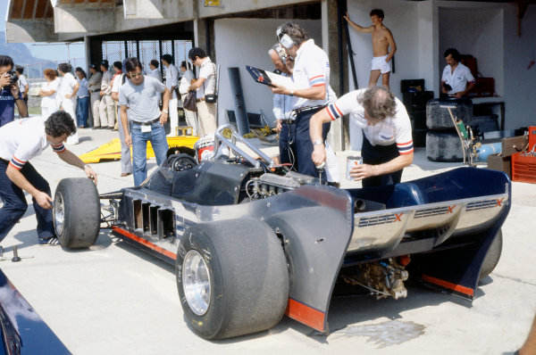 Jacarepagua, Rio de Janeiro, Brazil. 27-29 March 1981.Elio de Angelis (Lotus 88-Ford Cosworth) in the pits during practice. The Lotus 88 was banned before qualifying.World Copyright: LAT PhotographicRef: 35mm transparency 81BRA03