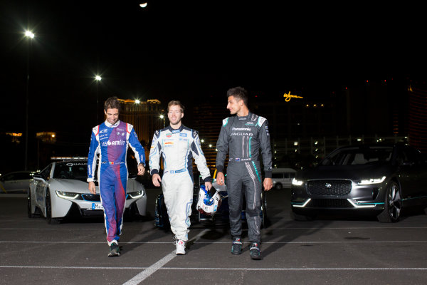 2016/2017 FIA Formula E Championship. Vegas eRace, Las Vegas, Nevada, United States of America. Thursday 5 January 2017. Antonio Felix da Costa, MS Amlin Andretti, with Sam Bird, DS Virgin Racing, and Mitch Evans, Panasonic Jaguar. Photo: Alastair Staley/LAT/Formula E ref: Digital Image 580A1444