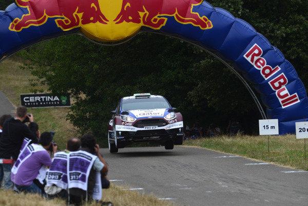 Elfyn Evans (GBR) and Daniel Barritt (GBR), Ford Fiesta R5 on stage 11.FIA World Rally Championship, Rd9, ADAC Rally Germany, Day Three, Trier, Germany, 24 August 2013.
