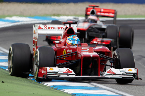 Hockenheimring, Hockenheim, Germany 22nd July 2012 Fernando Alonso, Ferrari F2012 leads Jenson Button, McLaren MP4-27 Mercedes.  World Copyright: Steve Etherington/LAT Photographic ref: Digital Image HC5C5324 copy