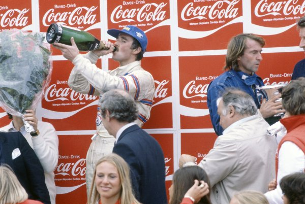 1981 Belgian Grand Prix.Zolder, Belgium. 15-17 May 1981.Nigel Mansell (Lotus 81B-Ford Cosworth), 3rd position, and Jacques Laffite (Ligier JS17-Matra), 2nd position, on the podium.World Copyright: LAT PhotographicRef: 35mm transparency 81BEL14