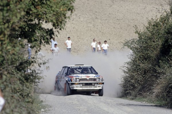 1990 World Rally Championship.Sanremo Rally, Italy. 14-18 October 1990.Didier Auriol/Bernard Occelli (Lancia Delta Integrale 16V), 1st position.World Copyright: LAT PhotographicRef: 35mm transparency 90RALLY04