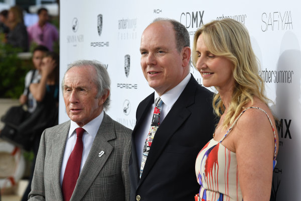 Monte Carlo, Monaco. Friday 26 May 2017. Jackie Stewart (GBR), HSH Prince Albert of Monaco (MON) and Sonia Irvine (IRL) at the Amber Lounge Fashion Show, Le Meridien Beach Plaza Hotel, Monaco World Copyright: Mark Sutton/Sutton/LAT Images ref: Digital Image dcd1727my426