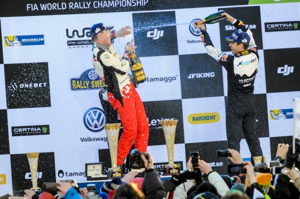 2017 FIA World Rally Championship, Round 02, Rally Sweden, February 09-12, 2017, Jari Matti Latvala, Sebastien Ogier, Toyota, Podium, Worldwide Copyright: McKlein/LAT