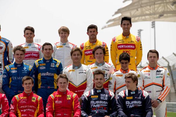 2017 FIA Formula 2 Round 1. Bahrain International Circuit, Sakhir, Bahrain.  Thursday 13 April 2017. Class photo on the grid. Photo: Zak Mauger/FIA Formula 2. ref: Digital Image _56I8919