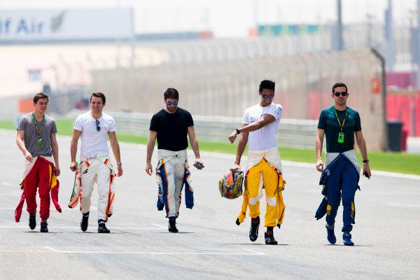 2017 FIA Formula 2 Round 1. Bahrain International Circuit, Sakhir, Bahrain.  Thursday 13 April 2017. Class photo on the grid. Photo: Sam Bloxham/FIA Formula 2. ref: Digital Image _W6I7621