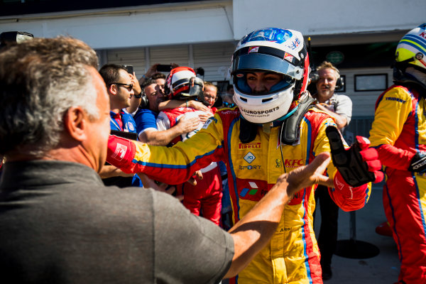 2017 GP3 Series Round 4.  Hungaroring, Budapest, Hungary. Sunday 30 July 2017. Giuliano Alesi (FRA, Trident), with father, Jean Alesi. Photo: Zak Mauger/GP3 Series Media Service. ref: Digital Image _56I4116