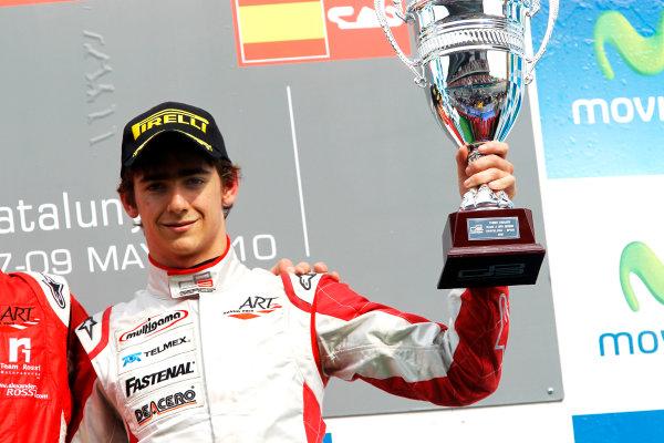 Circuit de Catalunya, Spain. 9th May 2010. Sunday Race. Esteban Gutierrez, (MEX, ART Grand Prix) celebrates on the podium.Portrait. Photo: Andrew Ferraro/GP3 Media Service. Digital Image _Q0C2804