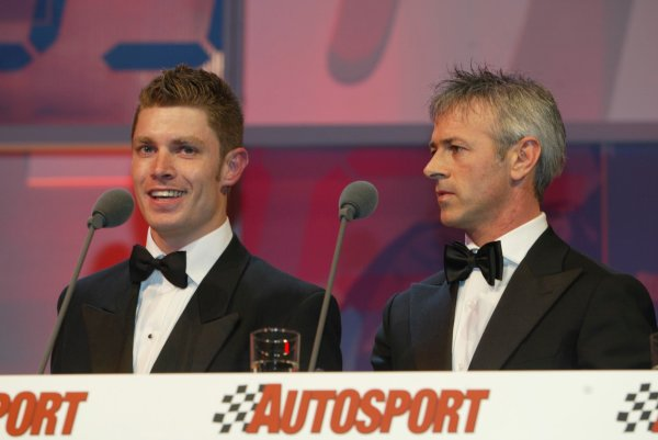 2003 AUTOSPORT AWARDS, The Grosvenor, London. 7th December 2003.Le Mans winners, Guy Smith and Dindo Capello collect the Racing car of the year award for the Bentley Speed 8.Photo: Peter Spinney/LAT PhotographicRef: Digital Image only