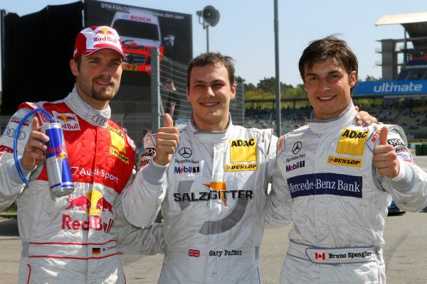The top 3 after the Qualifying: (l-r) Martin Tomczyk (GER), Audi Sport Team Abt Sportsline, (2nd); Gary Paffett (GBR), Salzgitter AMG Mercedes, (pole position) and Bruno Spengler (CDN), Mercedes-Benz Bank AMG,  (3rd).