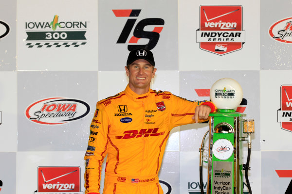 17-18 July, 2015, Newton, Iowa USA Ryan Hunter-Reay celebrates on the podium ?2015, Phillip Abbott LAT Photo USA