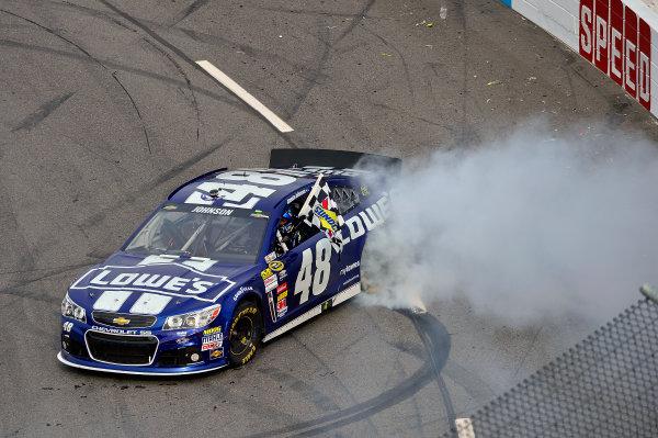 April 5-7, 2013 Martinsville, Virginia USA Jimmie Johnson does his Victory Burnout © 2013, Brian Czobat LAT Photo USA .