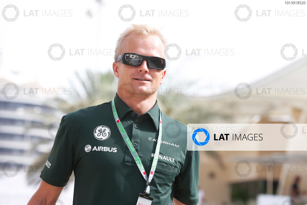 Bahrain International Circuit, Sakhir, Bahrain Friday 19th April 2013 Heikki Kovalainen, Caterham F1 World Copyright: Charles Coates/LAT Photographic ref: Digital Image _N7T8943