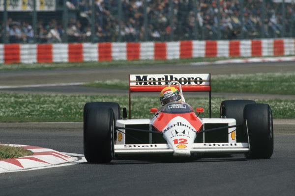 Imola, Italy. 29th April - 1st May 1988. Ayrton Senna (McLaren MP4/4-Honda), 1st position, action. World Copyright: LAT Photographic Ref: 88SM25