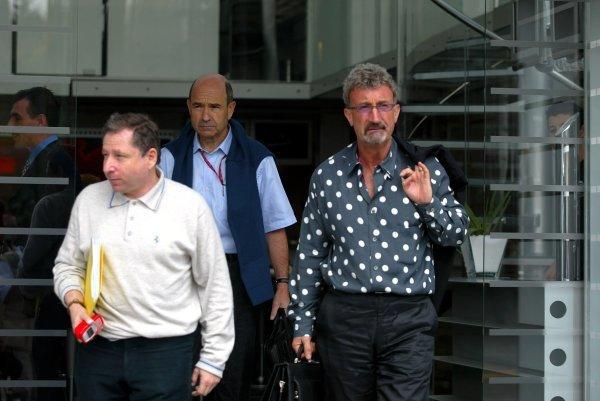 (L to R): Jean Todt (FRA) Ferrari General Manager, Peter Sauber (SUI) Sauber Team Principal and Eddie Jordan (IRE) Jordan Team Principal leave the team managers meeting.Formula One World Championship, Rd4, San Marino Grand Prix, Preparations, Imola, Italy, 17 April 2003.DIGITAL IMAGE