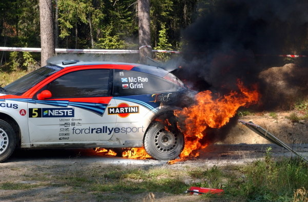 Colin McRae (GBR) had to evacuate his Ford Focus RS WRC after a loose hydraulic line caught fire at the end of stage 20.