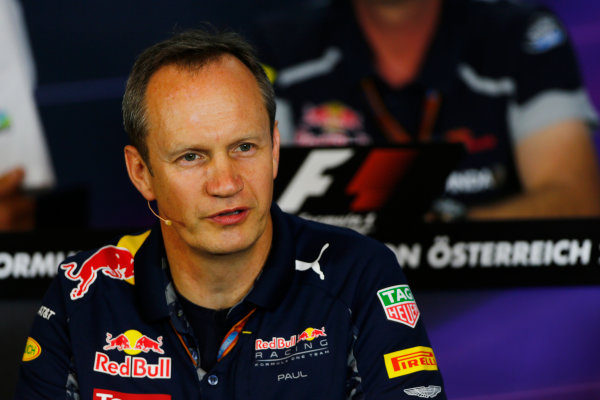 Red Bull Ring, Spielberg, Austria. Friday 01 July 2016. Paul Monaghan, Chief Engineer, Red Bull Racing, in the team principals Press Conference. World Copyright: Andy Hone/LAT Photographic ref: Digital Image _ONZ5165