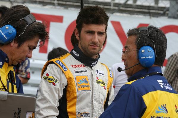 2014 Super Formula Series. Fuji, Japan. 11th - 13th July 2014. Rd 3. Pole position, Andrea Caldarelli ( #8 Team KYGNUS SUNOCO SF14 ) portrait. World Copyright: Yasushi Ishihara / LAT Photographic. Ref: 2014SF_Rd3_022.JPG