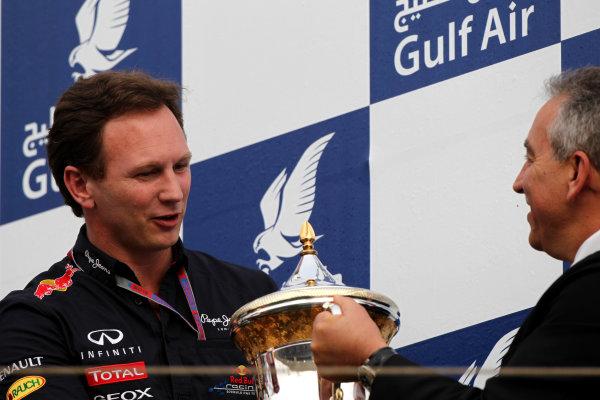 Bahrain International Circuit, Sakhir, Bahrain22nd April 2012Christian Horner, Team Principal, Red Bull Racing, recieves the constructors trophy.World Copyright: Andy Hone/LAT Photographicref: Digital Image HONY8667