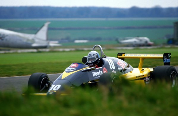 Alessando Nannini (ITA), Minardi M283 BMW, finished seventh. European Formula Two Championship, P&O Ferries/Jochen Rindt Trophy, Thruxton, England. 23 April 1984.
