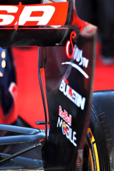 Scuderia Toro Rosso STR9 rear wing detail. Scuderia Toro Rosso STR9 Launch, Jerez, Spain, Monday 27 January 2014.