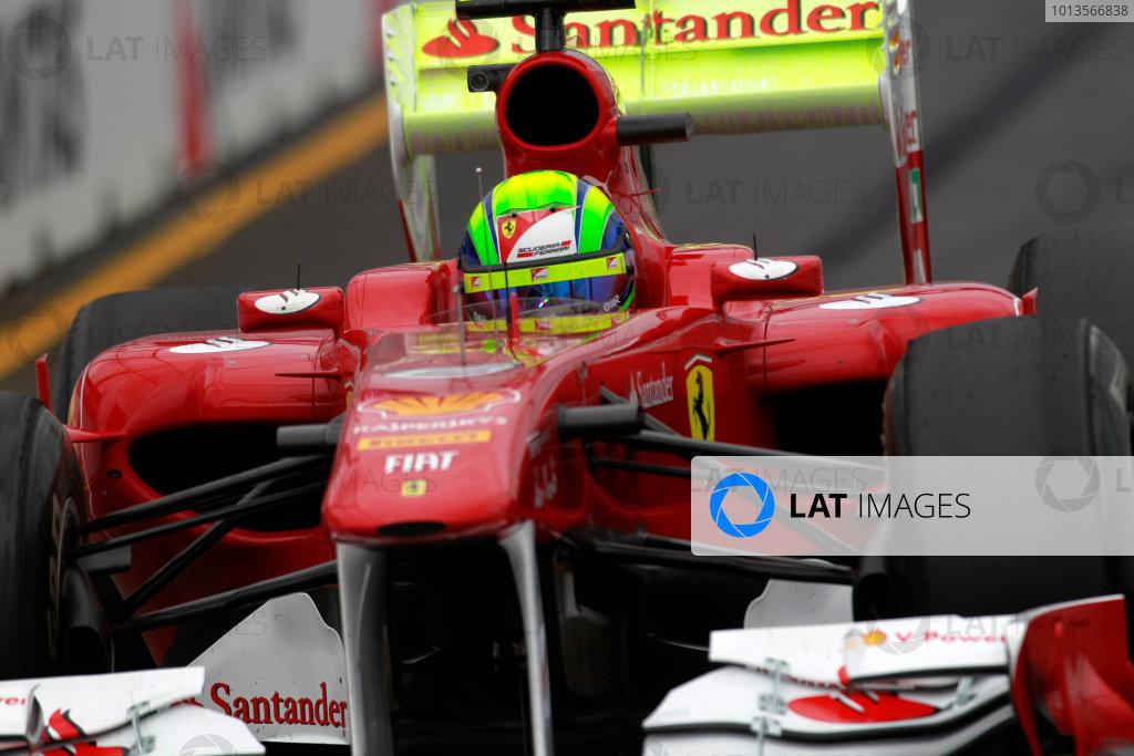 Albert Park, Melbourne, Australia 25th March 2011. Felipe Massa, Ferrari 150° Italia, and a rear wing covered in flourescent paint. Action.  World Copyright: Charles Coates/LAT Photographic ref: Digital Image _X5J8622